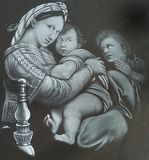 Madonna of the Chair white chalk pen