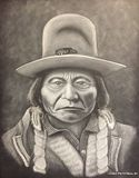 Sitting Bull white charcoal on black