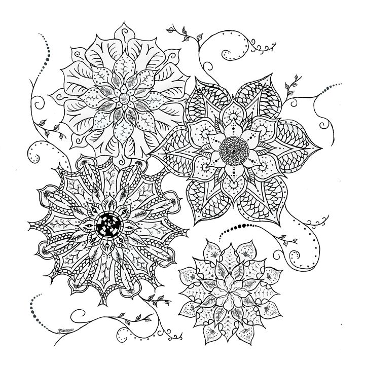 Flowers Tribal Dot Work - BW Drawings
