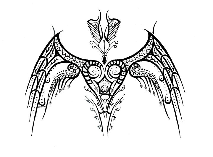 Heart Tribal Wings - BW Drawings