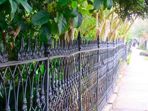long iron fence