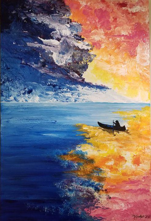 Paddling into the Sunset - Underground Art - a MKurka Art Studio