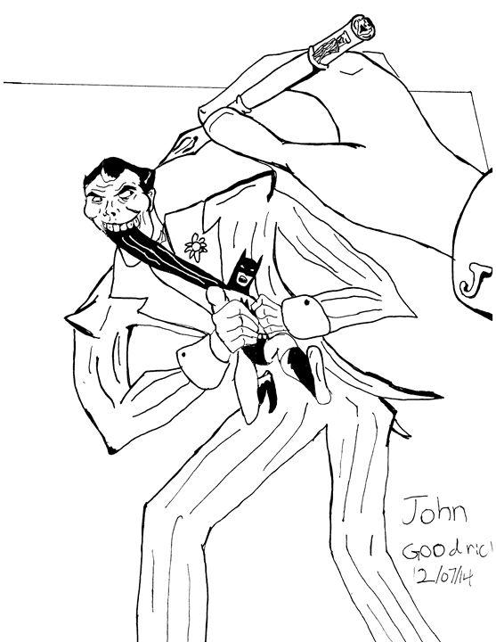 Joker drawing a self portrait - John M. Goodrich