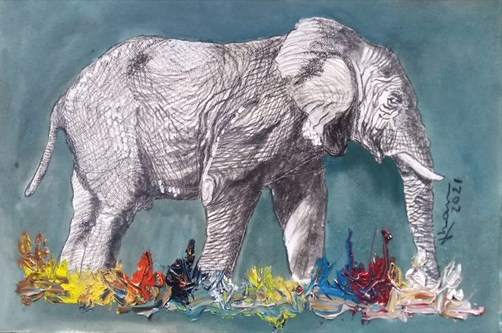 Monochromatic Elephant - Jose Hau Artwork