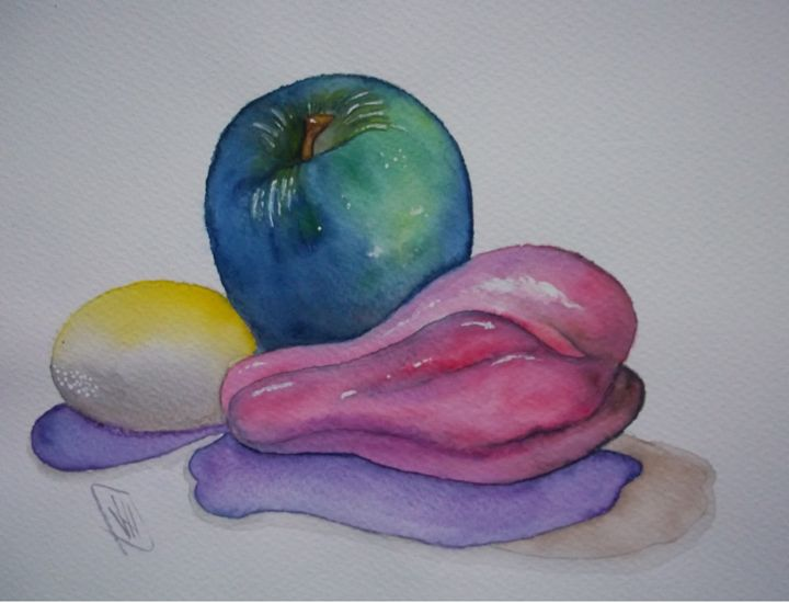 Green Apple & Yellow Egg - Jose Hau Artwork