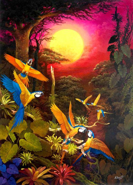 """Guacamayos"" Alfredo Zagaceta - Pegasus Project Visionary Art Gallery"