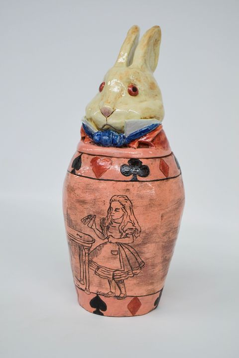 White Rabbit Canopic Jar - Andres W. Fine Art