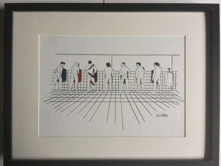 baseball team in the toilet - Gay art