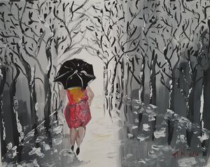 ''The woman with the umbrella''