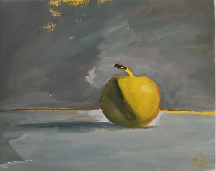 ''Apple on gray background'' - Polina NTALAMPIRA