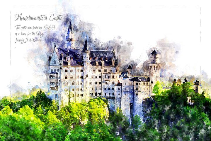 Neuschwanstein Castle, Watercolor - Theodor Decker