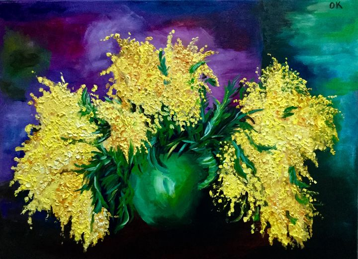 Mimosas is a green vase - Olga Koval