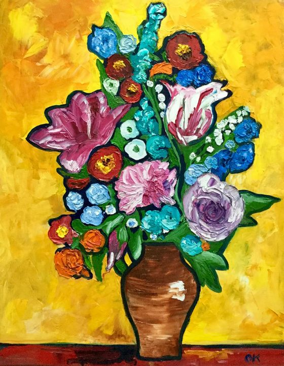 Abstract flowers in a vase - Olga Koval