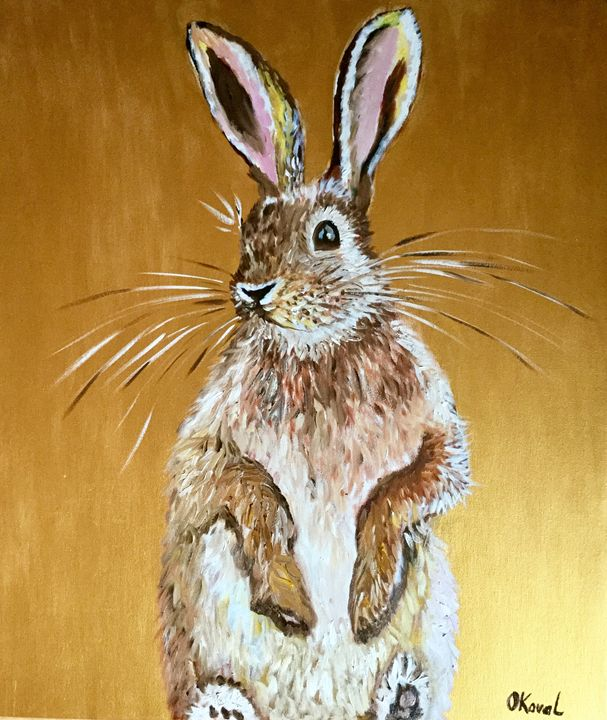 Honey bunny. Rabbit on the gold. - Olga Koval