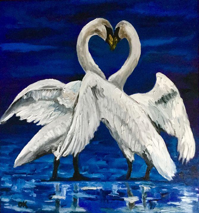 Swans Together forever Wedding gift. - Olga Koval