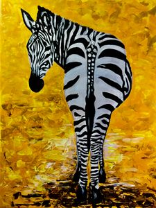 Zebra on golden field