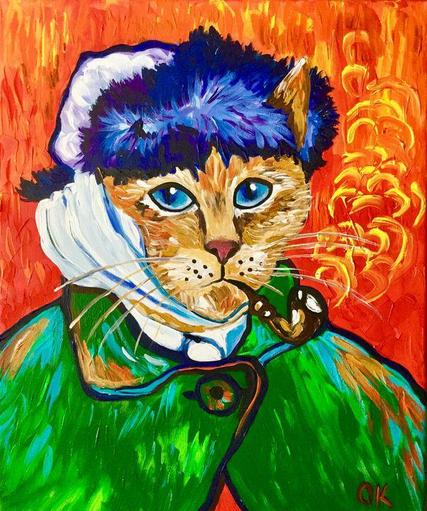 Cat La Van Gogh with a pipe - Olga Koval