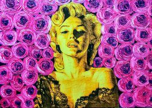 Marilyn Monroe on purple metallic ba