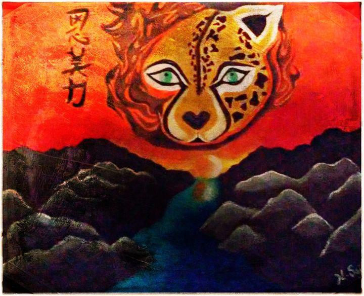 Acrylic on Canvas Cheetah Painting - La Casa De Seviles