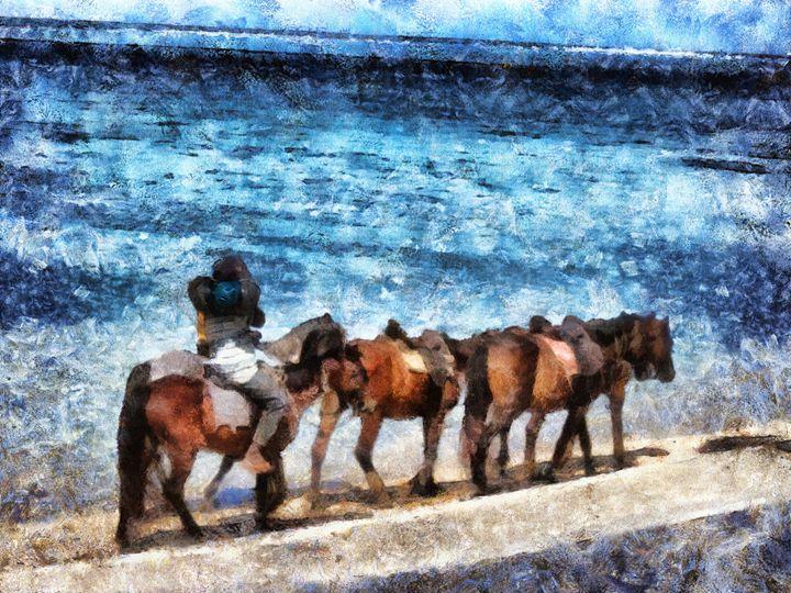 Horses on the beach - Leigh Kemp Photo Art