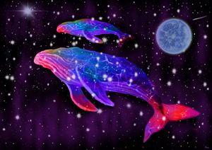 Celestial Rainbow Whales