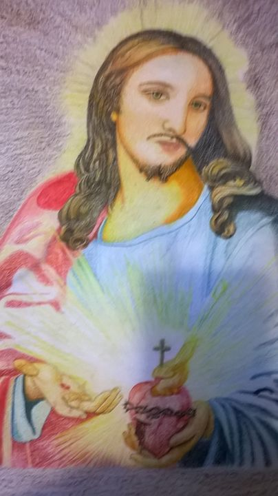Painting of Jesus with sacred heart - Kelvin Kimler's Portraits