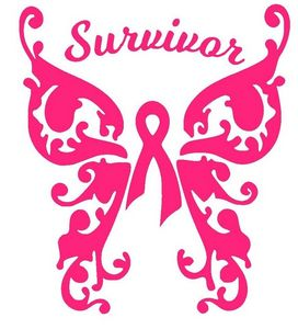 Cancer Survivor Swirly Butterfly - Vinyl Decals