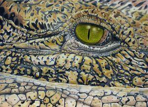 African Crocodilian - Wildlife Art by Karen Sharp