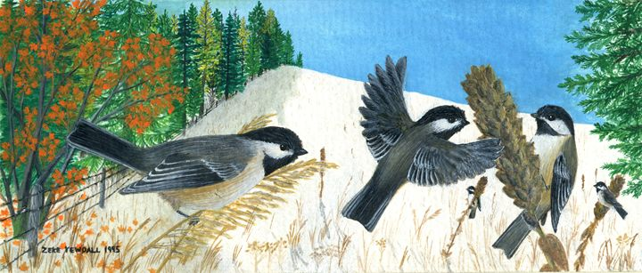 Black Capped Chickadees - Dark Forest Creature - photography and painting