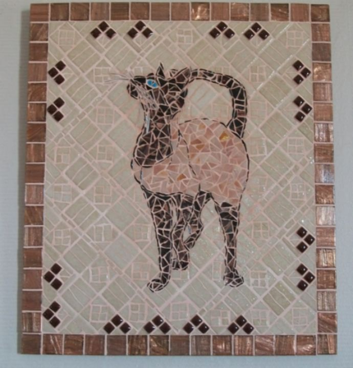 Mosaic painting representing a cat - Chez Palenque