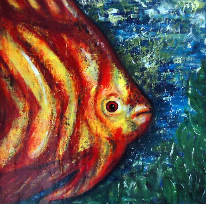 Abstract Fish Acrylic Painting - Second Page Studio