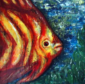 Abstract Fish Acrylic Painting