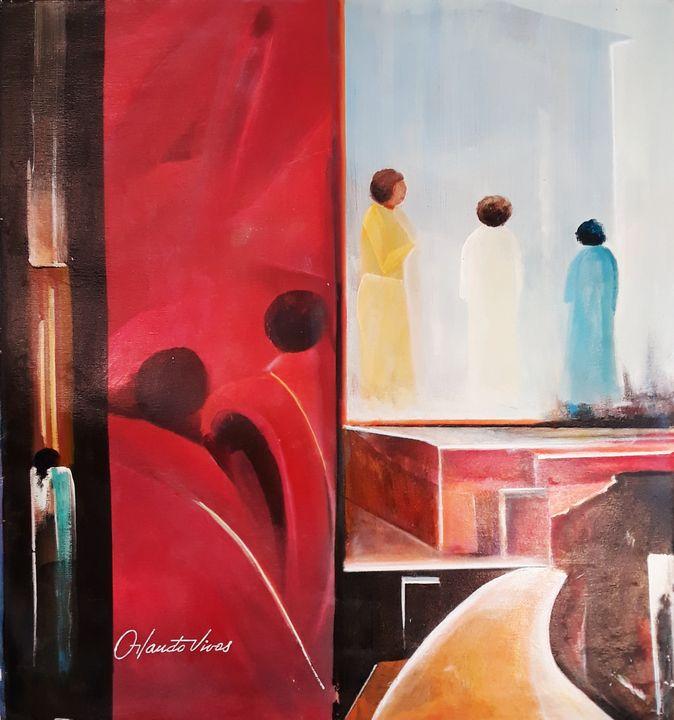 Conversando en la Terraza - Orlando Vivas Art