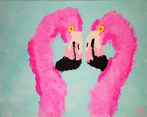 flamingos love - Jeremiah Tarango , Avenue Abstract