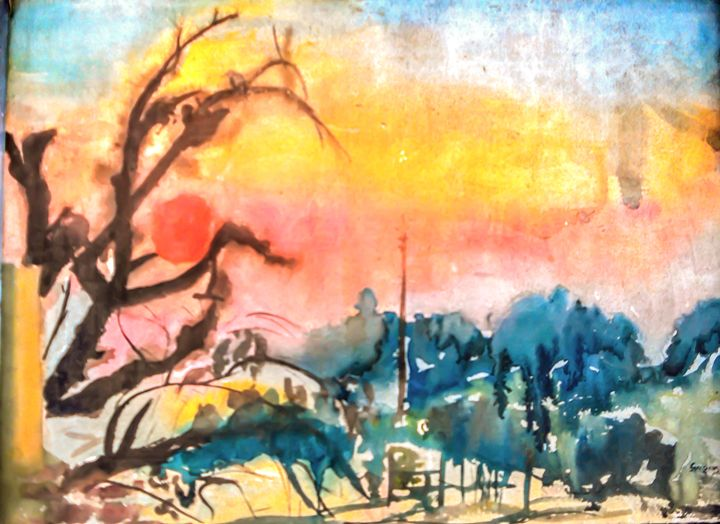 Sunset in a village - Gagan's Art