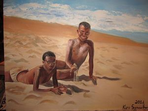 Boys playing in the sand
