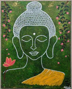 Budha on gold celestial backdrop
