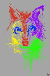 Colourful Wolf - Céline Flowers Art