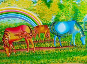 The rainbow accompanies them