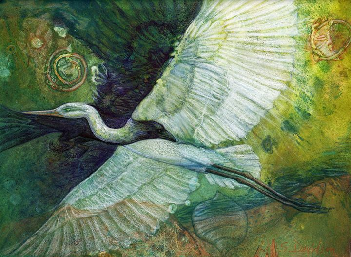 The Separation of Heron and Crow - Sharmon Davidson Art