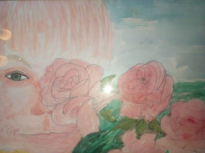 Girl Behind a Rose - Art By Loui