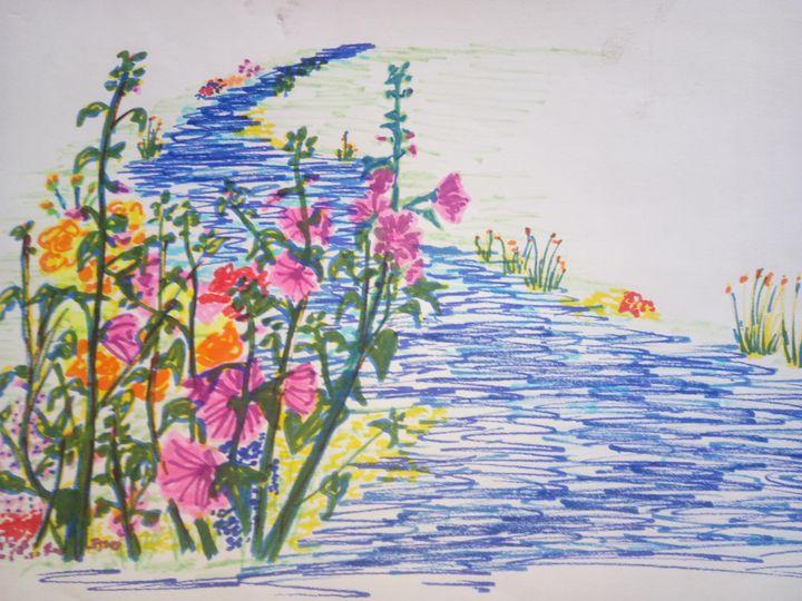 Flowers By A Stream - Art By Loui