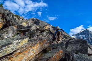 Climbing at Moraine Lake