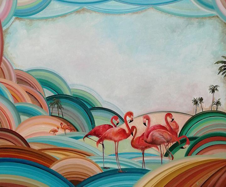 Flamingo beach - My Art for Kids