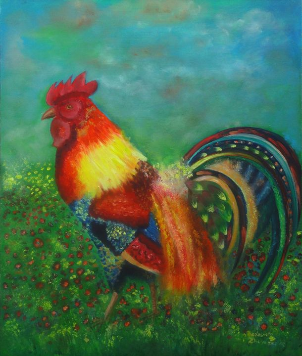 Fire rooster-SOLD - My Art for Kids