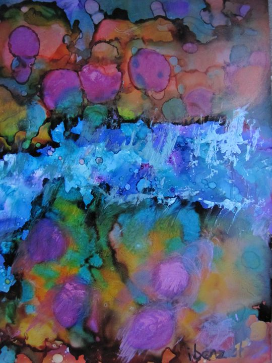 74. Ink Art Rock Waterfall - ibenzel