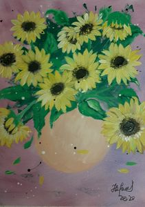 Sunflowers in a Vase - HafnerDekoArt
