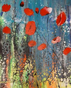 Poppies on an abstract field - HafnerDekoArt