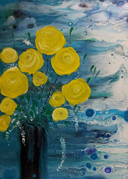Yellow Roses in a Vase - HafnerDekoArt
