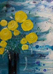 Yellow Roses in a Vase - HafnerDekoArt